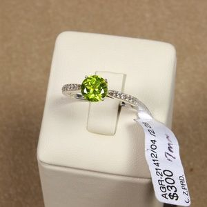 Exceptional 7mm Natural Peridot Ring